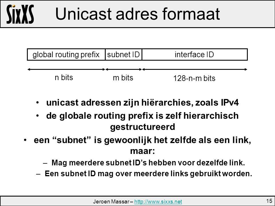 Jeroen Massar – http://www.sixxs.nethttp://www.sixxs.net 15 Unicast adres formaat interface IDglobal routing prefixsubnet ID n bits m bits 128-n-m bits unicast adressen zijn hiërarchies, zoals IPv4 de globale routing prefix is zelf hierarchisch gestructureerd een subnet is gewoonlijk het zelfde als een link, maar: –Mag meerdere subnet ID's hebben voor dezelfde link.