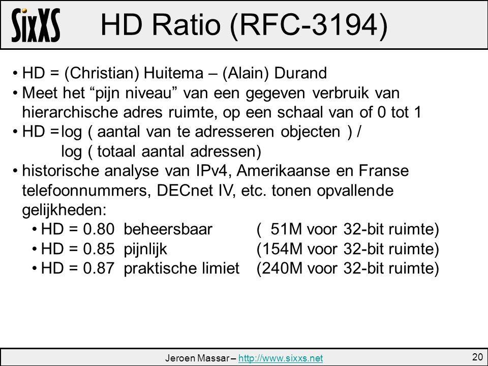 Jeroen Massar – http://www.sixxs.nethttp://www.sixxs.net 20 HD Ratio (RFC-3194) HD = (Christian) Huitema – (Alain) Durand Meet het pijn niveau van een gegeven verbruik van hierarchische adres ruimte, op een schaal van of 0 tot 1 HD =log ( aantal van te adresseren objecten ) / log ( totaal aantal adressen) historische analyse van IPv4, Amerikaanse en Franse telefoonnummers, DECnet IV, etc.