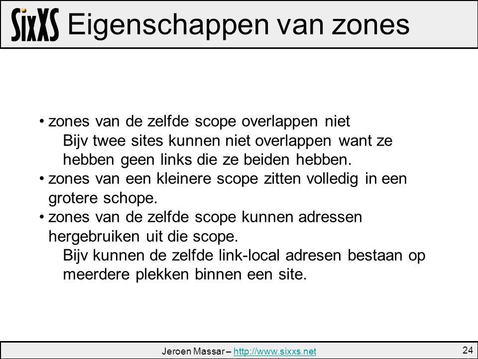 Jeroen Massar – http://www.sixxs.nethttp://www.sixxs.net 24 Eigenschappen van zones zones van de zelfde scope overlappen niet Bijv twee sites kunnen niet overlappen want ze hebben geen links die ze beiden hebben.