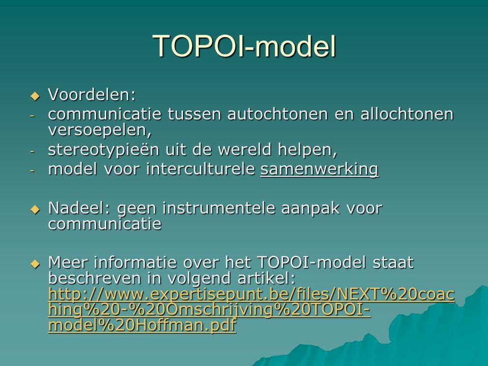TOPOI-model  Voordelen: - communicatie tussen autochtonen en allochtonen versoepelen, - stereotypieën uit de wereld helpen, - model voor interculture