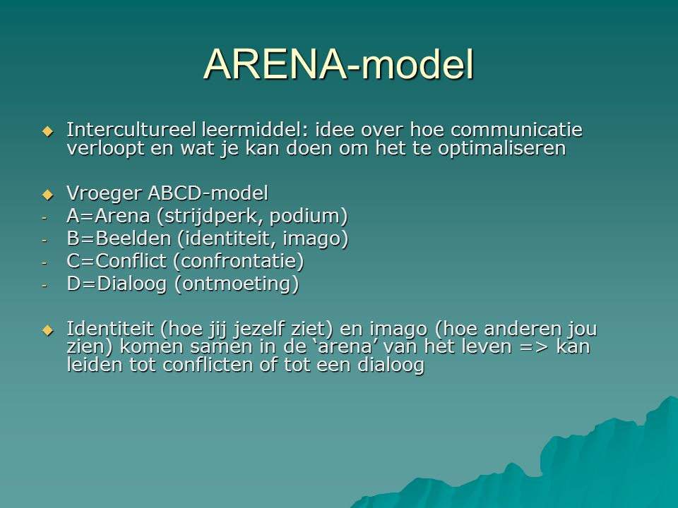ARENA-model  Intercultureel leermiddel: idee over hoe communicatie verloopt en wat je kan doen om het te optimaliseren  Vroeger ABCD-model - A=Arena