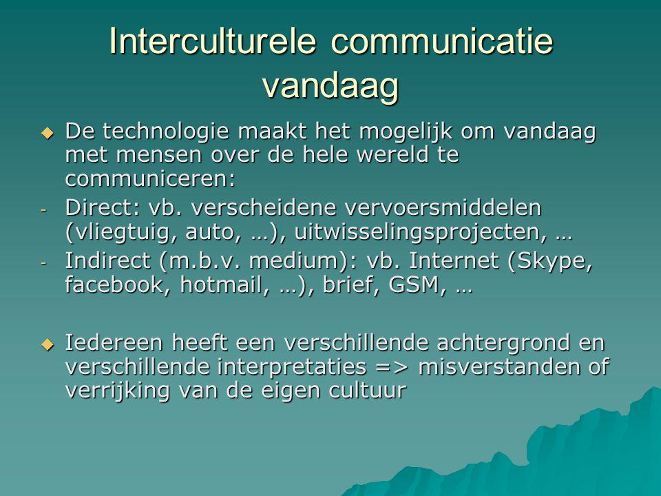 Interculturele communicatie vandaag  De technologie maakt het mogelijk om vandaag met mensen over de hele wereld te communiceren: - Direct: vb. versc