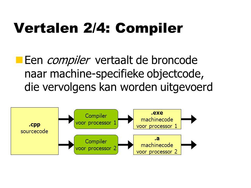 Vertalen 2/4: Compiler nEen compiler vertaalt de broncode naar machine-specifieke objectcode, die vervolgens kan worden uitgevoerd.cpp sourcecode.exe