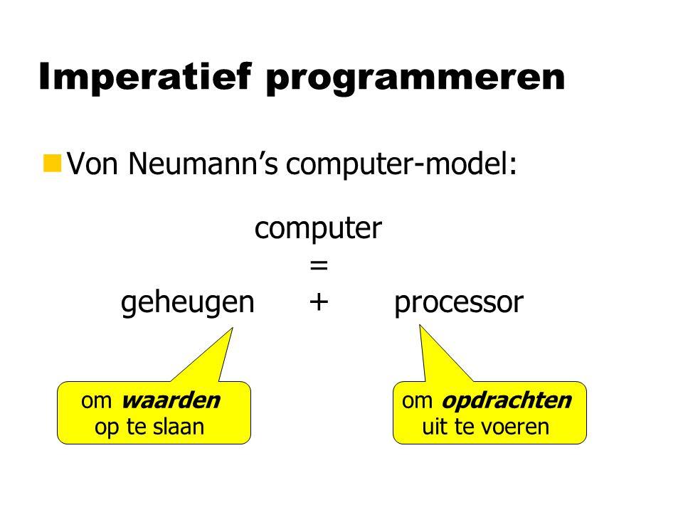 Opdrachten nOpdracht: voorschrift om het geheugen te veranderen nProgramma: lange reeks opdrachten, die één voor één worden uitgevoerd door de processor opdrachten staan zelf ook in het geheugen maar veranderen zichzelf niet
