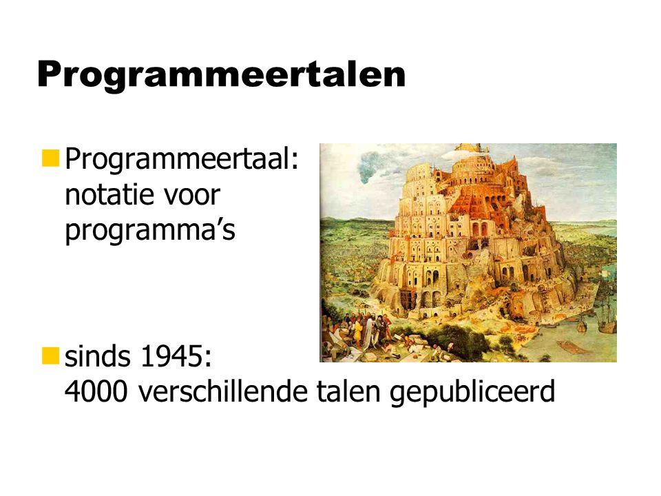 Geschiedenis van programmeertalen 1945 1950 1955 1960 1965 1970 1975 1980 1985 1990 1995 2000 Assembler Mach.taal Fortran Algol Basic Pascal Simula C C++ Java Imperatief Programmeren C# Cobol SQL Lisp Prolog Haskell PHP Perl Python Functioneel Programmeren (periode 3) Databases (periode 2) Internet- Programmeren (periode 3)