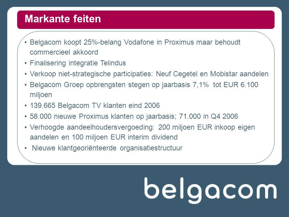Belgacom koopt 25%-belang Vodafone in Proximus maar behoudt commercieel akkoord Finalisering integratie Telindus Verkoop niet-strategische participati