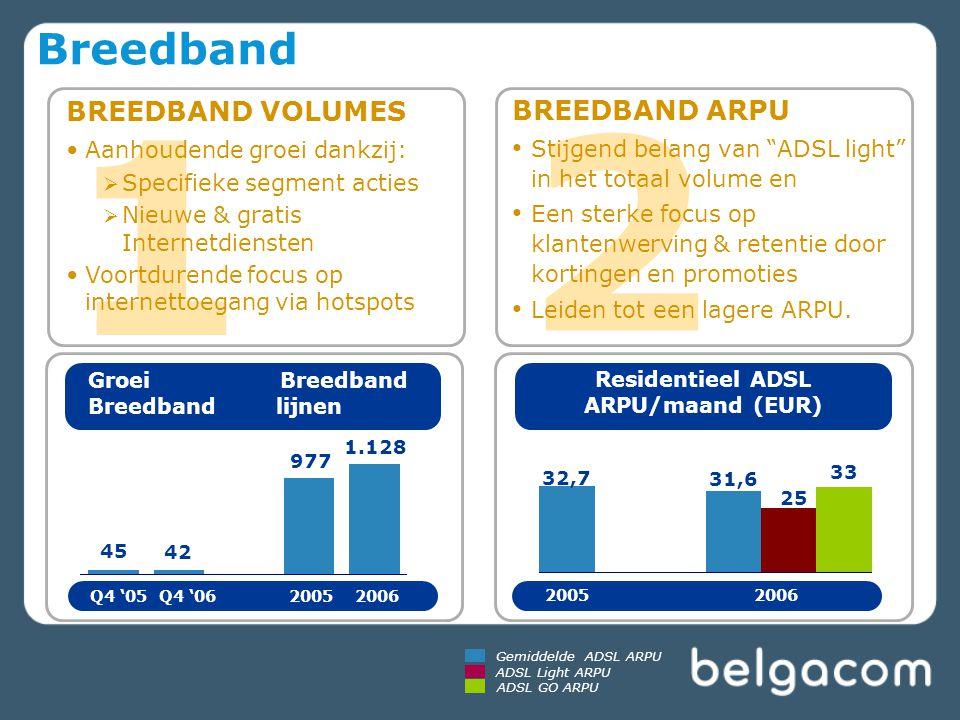 1 2 BREEDBAND VOLUMES Aanhoudende groei dankzij:  Specifieke segment acties  Nieuwe & gratis Internetdiensten Voortdurende focus op internettoegang