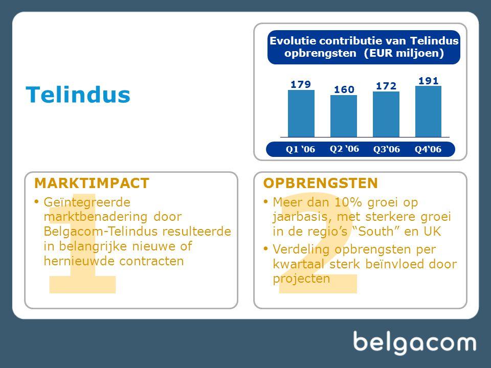 1 MARKTIMPACT Geïntegreerde marktbenadering door Belgacom-Telindus resulteerde in belangrijke nieuwe of hernieuwde contracten Telindus 2 OPBRENGSTEN M