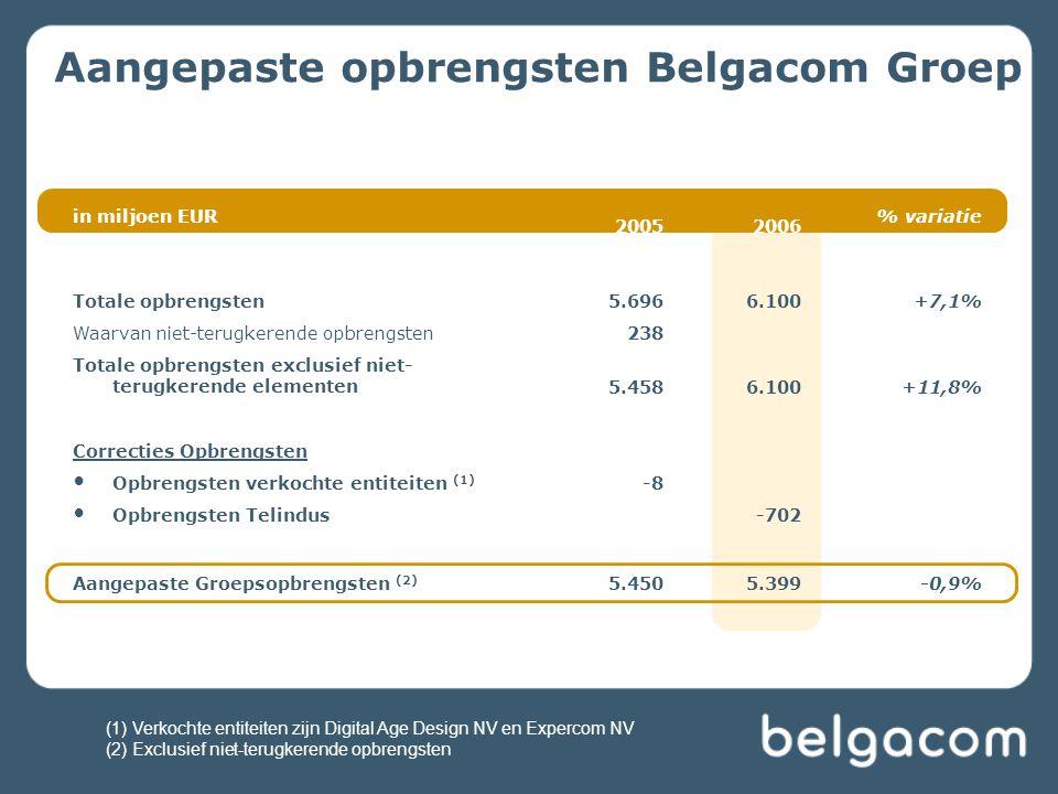 Aangepaste opbrengsten Belgacom Groep in miljoen EUR 20052006 % variatie Totale opbrengsten5.6966.100+7,1% Waarvan niet-terugkerende opbrengsten238 To
