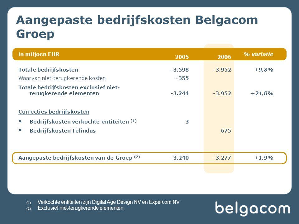 in miljoen EUR 20052006 % variatie Totale bedrijfskosten-3.598-3.952+9,8% Waarvan niet-terugkerende kosten-355 Totale bedrijfskosten exclusief niet- t