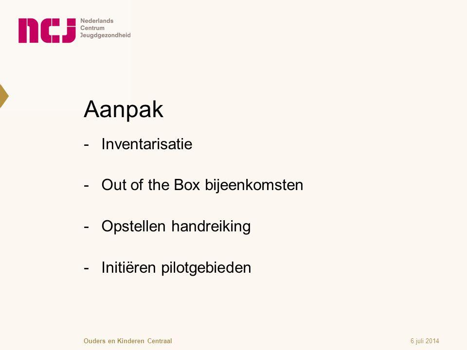 Aanpak  Inventarisatie  Out of the Box bijeenkomsten  Opstellen handreiking  Initiëren pilotgebieden 6 juli 2014Ouders en Kinderen Centraal