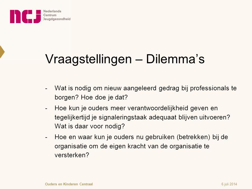 Vraagstellingen – Dilemma's  Wat is nodig om nieuw aangeleerd gedrag bij professionals te borgen.