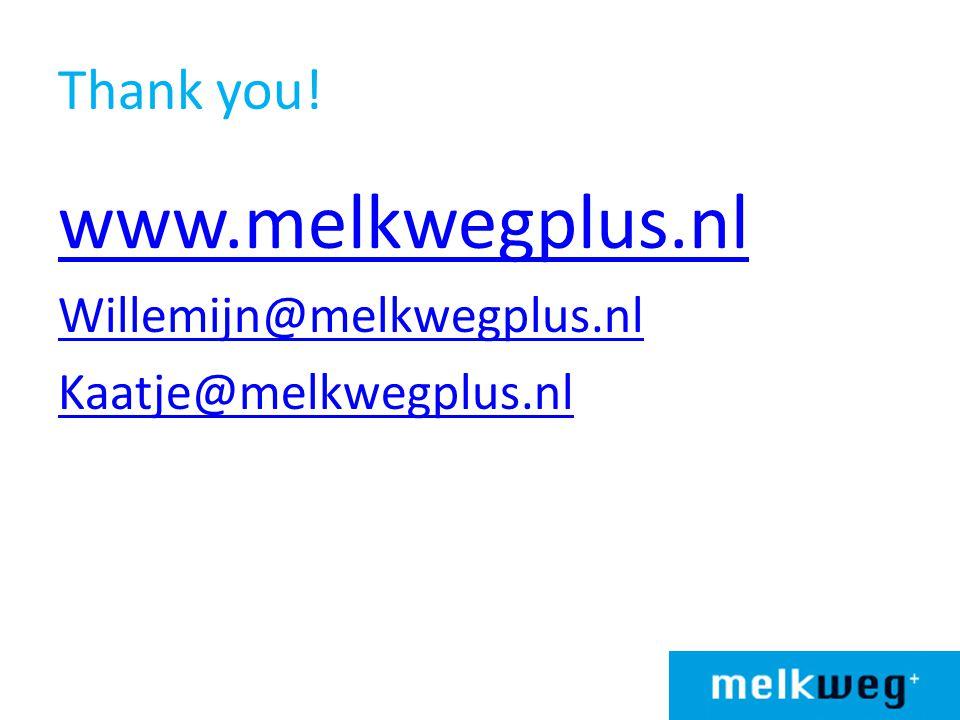 Thank you! www.melkwegplus.nl Willemijn@melkwegplus.nl Kaatje@melkwegplus.nl