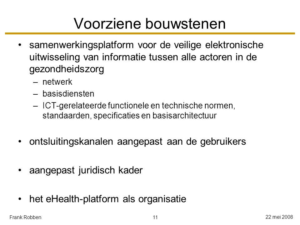 11 22 mei 2008 Frank Robben Voorziene bouwstenen samenwerkingsplatform voor de veilige elektronische uitwisseling van informatie tussen alle actoren in de gezondheidszorg –netwerk –basisdiensten –ICT-gerelateerde functionele en technische normen, standaarden, specificaties en basisarchitectuur ontsluitingskanalen aangepast aan de gebruikers aangepast juridisch kader het eHealth-platform als organisatie