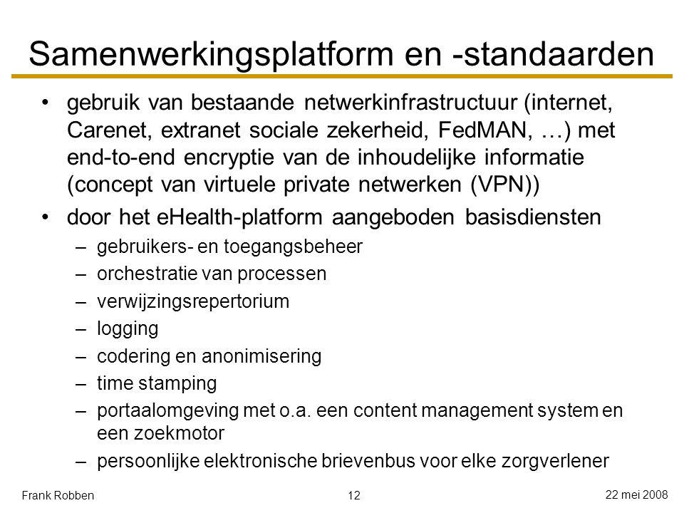 12 22 mei 2008 Frank Robben Samenwerkingsplatform en -standaarden gebruik van bestaande netwerkinfrastructuur (internet, Carenet, extranet sociale zekerheid, FedMAN, …) met end-to-end encryptie van de inhoudelijke informatie (concept van virtuele private netwerken (VPN)) door het eHealth-platform aangeboden basisdiensten –gebruikers- en toegangsbeheer –orchestratie van processen –verwijzingsrepertorium –logging –codering en anonimisering –time stamping –portaalomgeving met o.a.