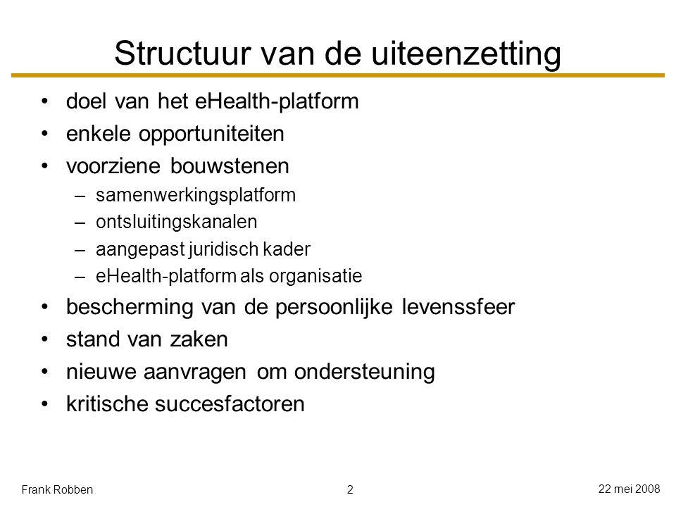 13 22 mei 2008 Frank Robben Samenwerkingsplatform en -standaarden zoveel mogelijk uitwisseling aan de hand van gestructureerde elektronische berichten van toepassing tot toepassing zoveel mogelijk uitwisseling op basis van open standaarden of, op zijn minst, open specificaties