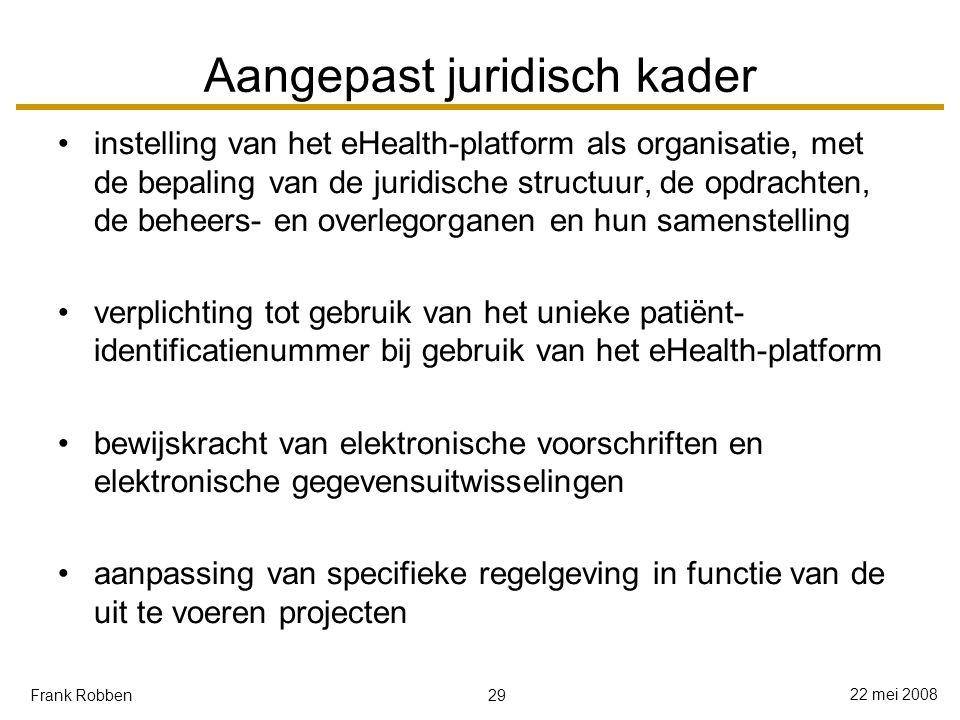 29 22 mei 2008 Frank Robben Aangepast juridisch kader instelling van het eHealth-platform als organisatie, met de bepaling van de juridische structuur, de opdrachten, de beheers- en overlegorganen en hun samenstelling verplichting tot gebruik van het unieke patiënt- identificatienummer bij gebruik van het eHealth-platform bewijskracht van elektronische voorschriften en elektronische gegevensuitwisselingen aanpassing van specifieke regelgeving in functie van de uit te voeren projecten