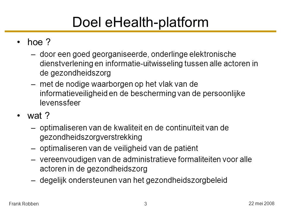 4 22 mei 2008 Frank Robben Wat het eHealth-platform niet beoogt wijzigingen aanbrengen aan de inhoudelijke taakverdeling tussen de onderscheiden actoren in de gezondheidszorg centraal opslaan van persoonsgegevens monopoliseren van de elektronische dienstverlening aan de eindgebruikers zelf uitvoeren van studies zelf verstrekken van inhoudelijke beleidsondersteuning op het vlak van de gezondheidszorg aangestuurd worden op basis van technologie eerder dan vanuit de doelstellingen vervat in de visie
