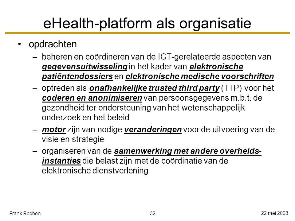 32 22 mei 2008 Frank Robben eHealth-platform als organisatie opdrachten –beheren en coördineren van de ICT-gerelateerde aspecten van gegevensuitwisseling in het kader van elektronische patiëntendossiers en elektronische medische voorschriften –optreden als onafhankelijke trusted third party (TTP) voor het coderen en anonimiseren van persoonsgegevens m.b.t.