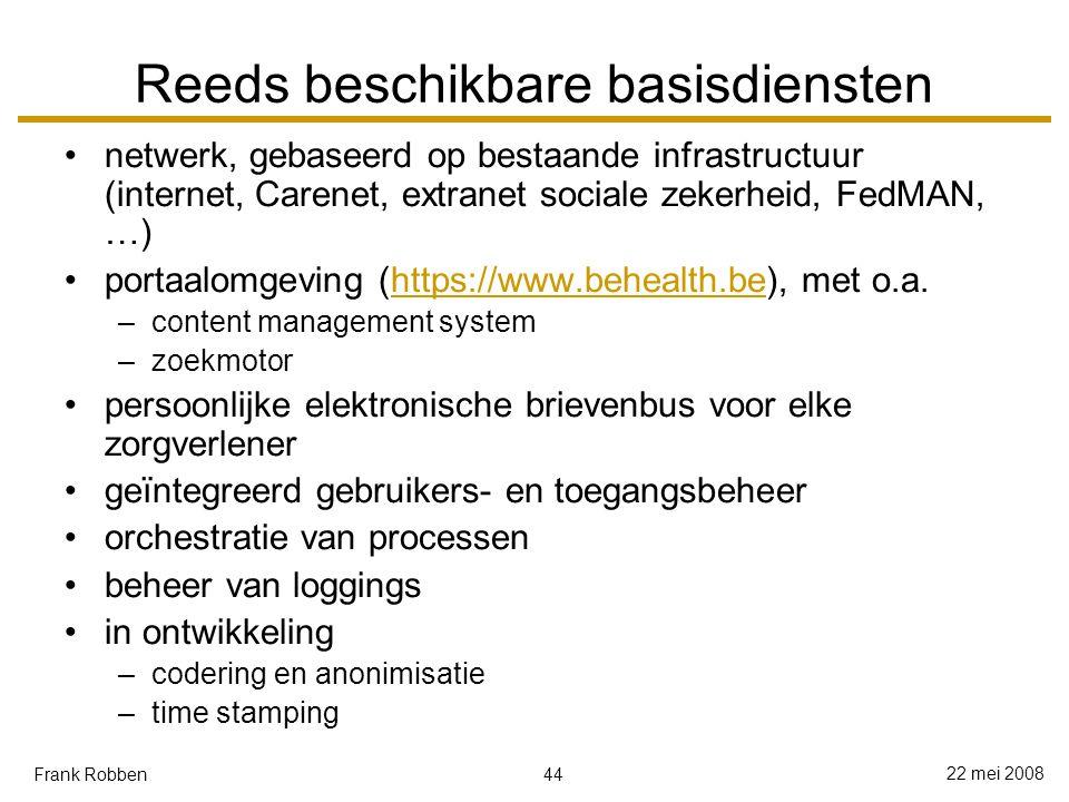44 22 mei 2008 Frank Robben Reeds beschikbare basisdiensten netwerk, gebaseerd op bestaande infrastructuur (internet, Carenet, extranet sociale zekerheid, FedMAN, …) portaalomgeving (https://www.behealth.be), met o.a.https://www.behealth.be –content management system –zoekmotor persoonlijke elektronische brievenbus voor elke zorgverlener geïntegreerd gebruikers- en toegangsbeheer orchestratie van processen beheer van loggings in ontwikkeling –codering en anonimisatie –time stamping