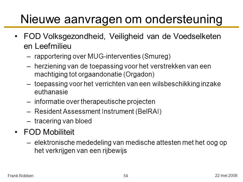 54 22 mei 2008 Frank Robben Nieuwe aanvragen om ondersteuning FOD Volksgezondheid, Veiligheid van de Voedselketen en Leefmilieu –rapportering over MUG-interventies (Smureg) –herziening van de toepassing voor het verstrekken van een machtiging tot orgaandonatie (Orgadon) –toepassing voor het verrichten van een wilsbeschikking inzake euthanasie –informatie over therapeutische projecten –Resident Assessment Instrument (BelRAI) –tracering van bloed FOD Mobiliteit –elektronische mededeling van medische attesten met het oog op het verkrijgen van een rijbewijs