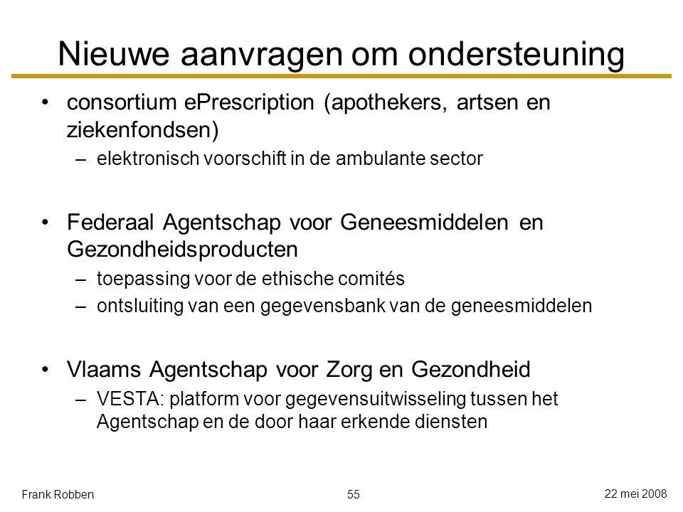 55 22 mei 2008 Frank Robben Nieuwe aanvragen om ondersteuning consortium ePrescription (apothekers, artsen en ziekenfondsen) –elektronisch voorschift in de ambulante sector Federaal Agentschap voor Geneesmiddelen en Gezondheidsproducten –toepassing voor de ethische comités –ontsluiting van een gegevensbank van de geneesmiddelen Vlaams Agentschap voor Zorg en Gezondheid –VESTA: platform voor gegevensuitwisseling tussen het Agentschap en de door haar erkende diensten
