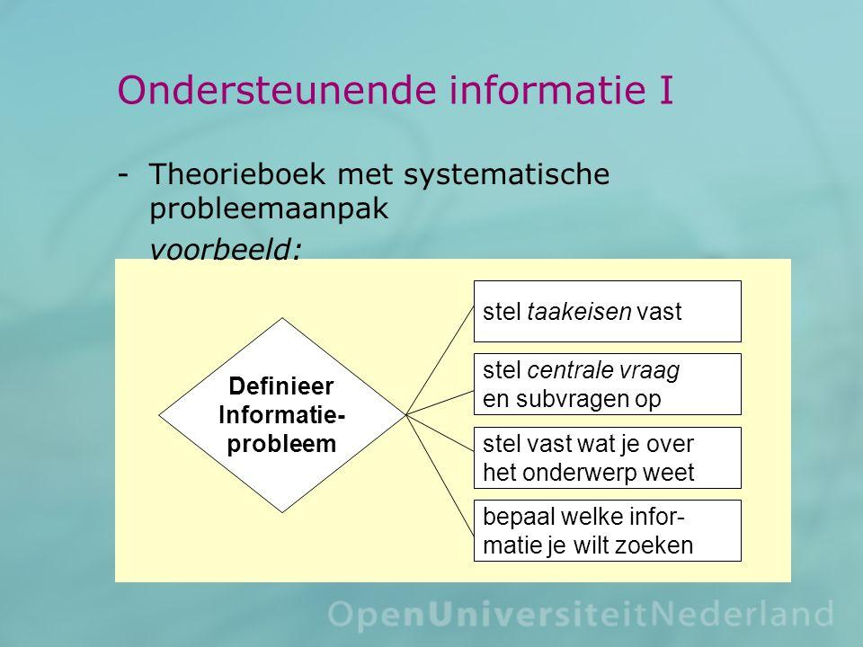 Ondersteunende informatie I Theorieboek met systematische probleemaanpak voorbeeld: Definieer Informatie- probleem stel taakeisen vast stel centrale vraag en subvragen op stel vast wat je over het onderwerp weet bepaal welke infor- matie je wilt zoeken
