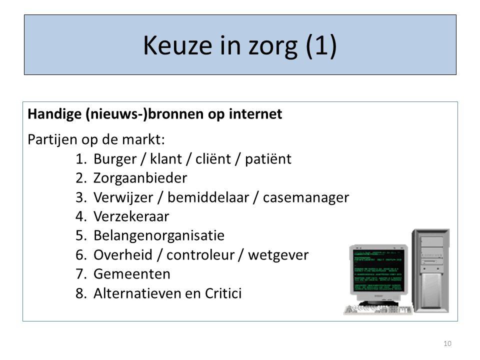Keuze in zorg (1) 10 Handige (nieuws-)bronnen op internet Partijen op de markt: 1.Burger / klant / cliënt / patiënt 2.Zorgaanbieder 3.Verwijzer / bemi