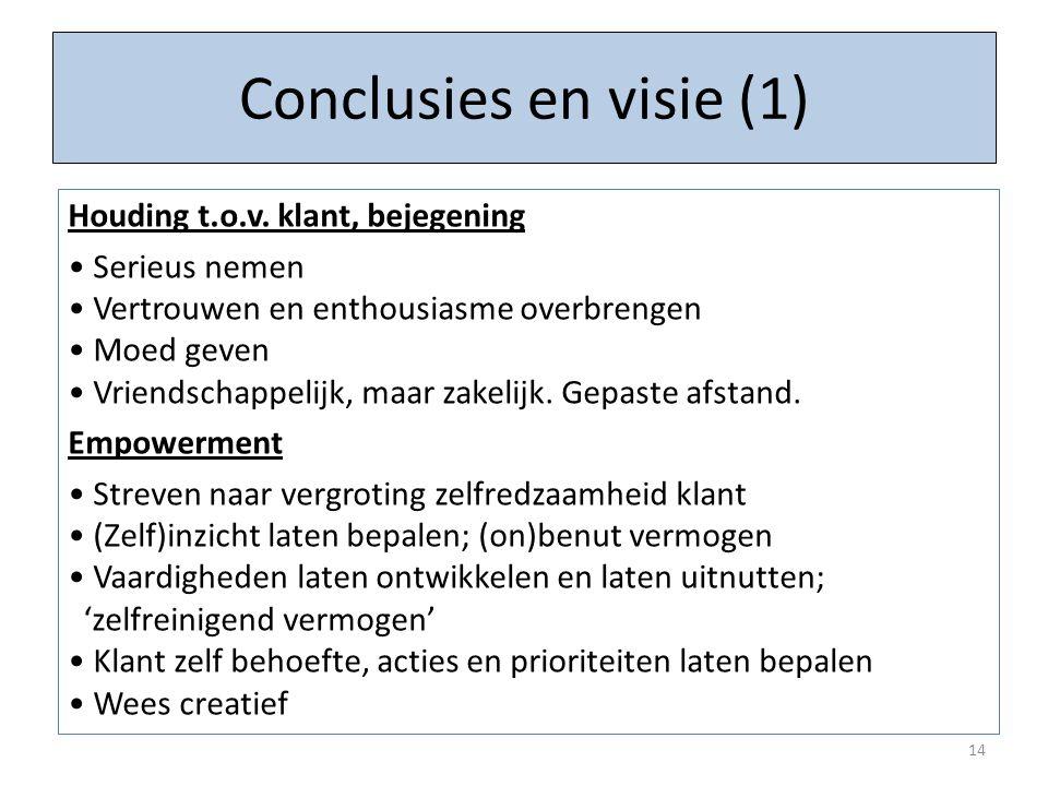 Conclusies en visie (1) 14 Houding t.o.v. klant, bejegening Serieus nemen Vertrouwen en enthousiasme overbrengen Moed geven Vriendschappelijk, maar za