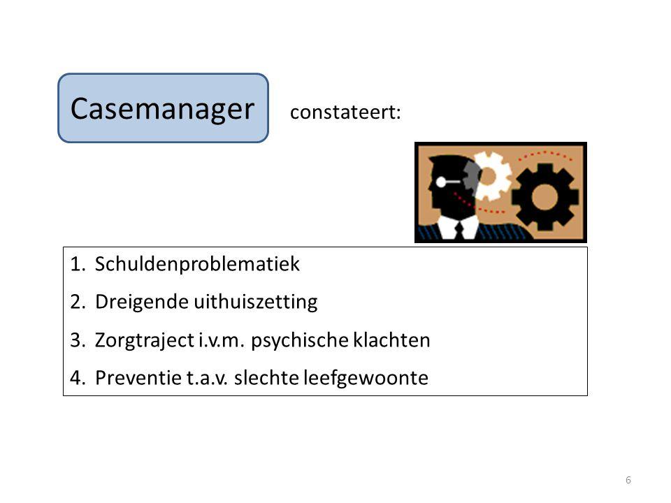 Casemanager constateert: 1.Schuldenproblematiek 2.Dreigende uithuiszetting 3.Zorgtraject i.v.m.