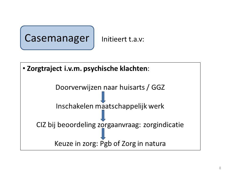 Casemanager Initieert t.a.v: Zorgtraject i.v.m. psychische klachten: Doorverwijzen naar huisarts / GGZ Inschakelen maatschappelijk werk CIZ bij beoord