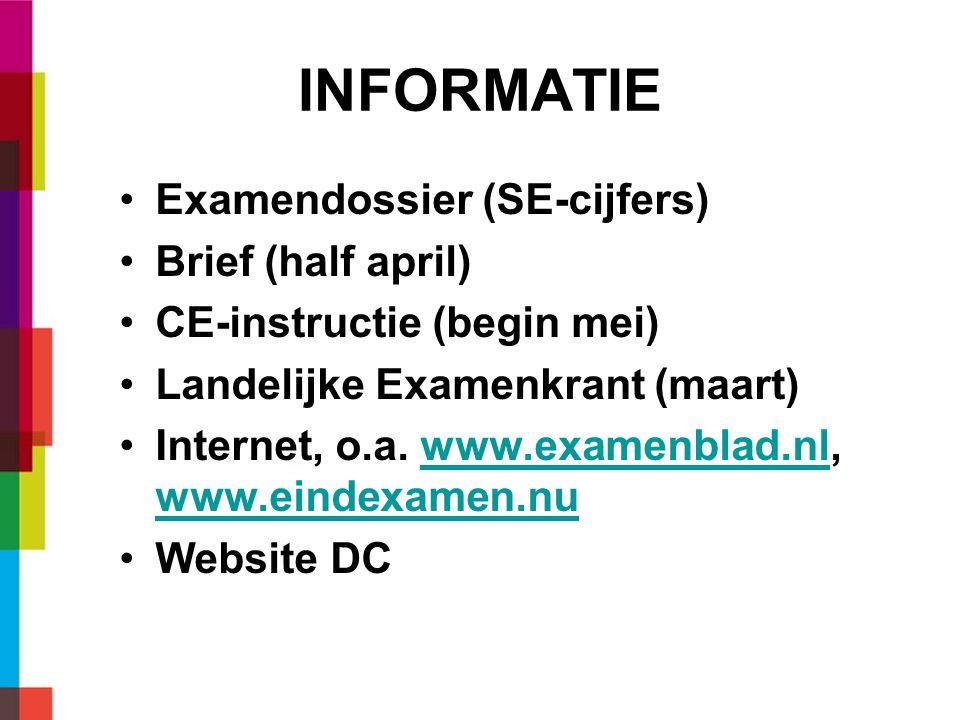 INFORMATIE Examendossier (SE-cijfers) Brief (half april) CE-instructie (begin mei) Landelijke Examenkrant (maart) Internet, o.a. www.examenblad.nl, ww