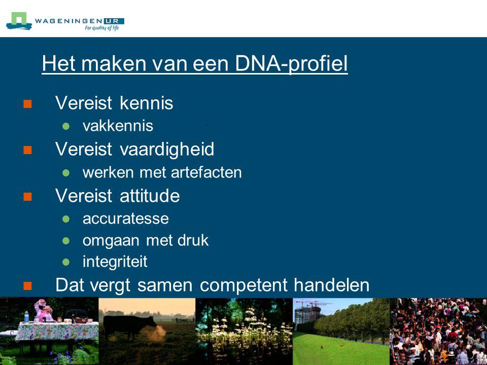 Het maken van een DNA-profiel Vereist kennis vakkennis Vereist vaardigheid werken met artefacten Vereist attitude accuratesse omgaan met druk integriteit Dat vergt samen competent handelen