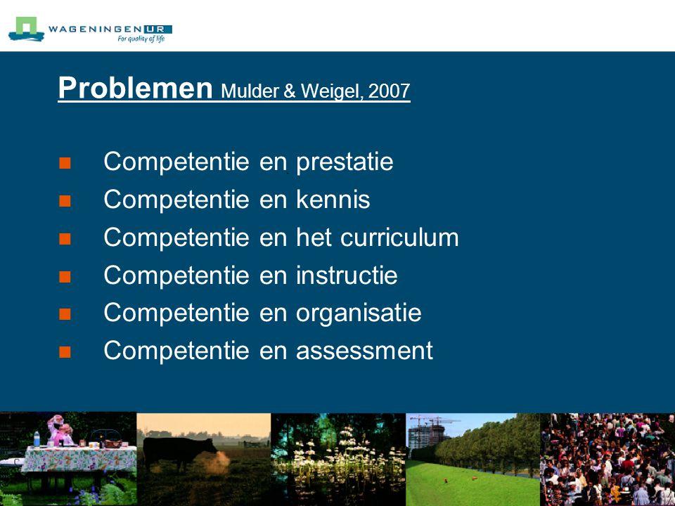 Problemen Mulder & Weigel, 2007 Competentie en prestatie Competentie en kennis Competentie en het curriculum Competentie en instructie Competentie en organisatie Competentie en assessment