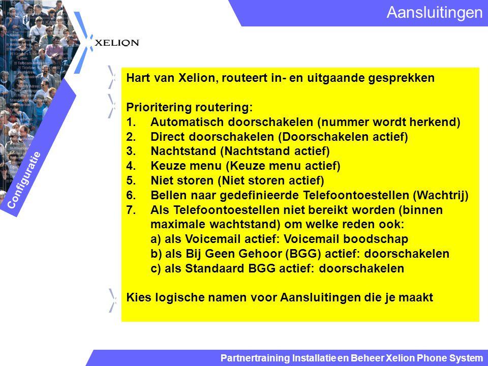 Partnertraining Installatie en Beheer Xelion Phone System Hart van Xelion, routeert in- en uitgaande gesprekken Prioritering routering: 1.Automatisch