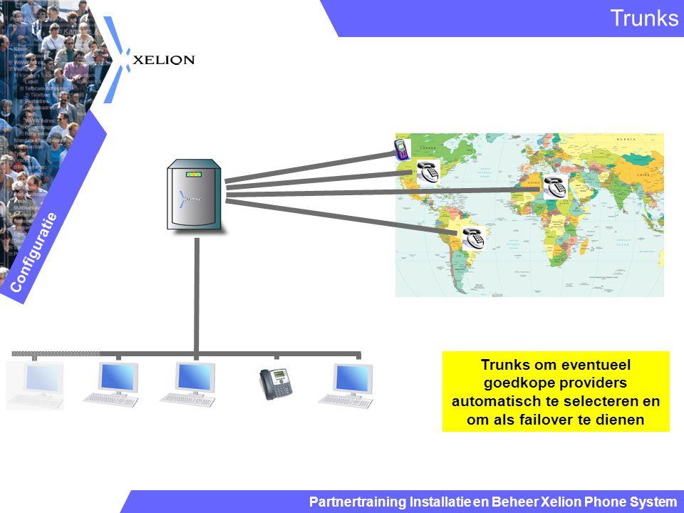 Partnertraining Installatie en Beheer Xelion Phone System Trunks Configuratie Trunks om eventueel goedkope providers automatisch te selecteren en om a