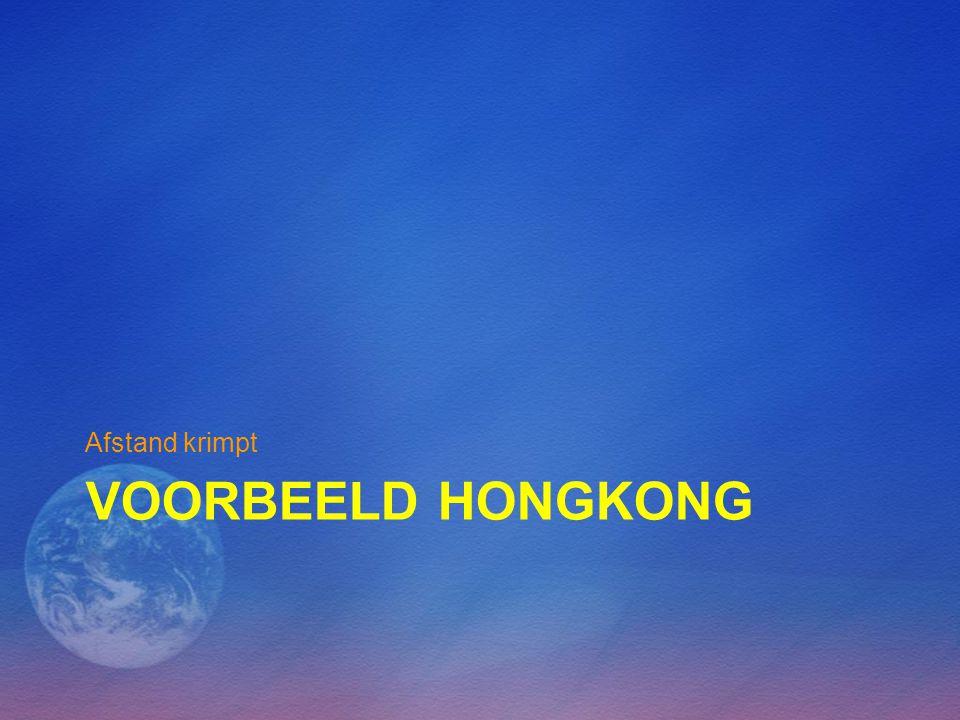 VOORBEELD HONGKONG Afstand krimpt