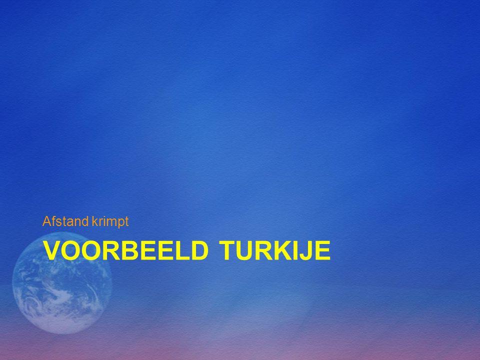 VOORBEELD TURKIJE Afstand krimpt