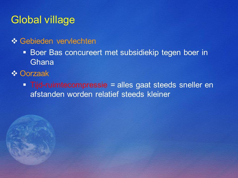 Global village  Gebieden vervlechten  Boer Bas concureert met subsidiekip tegen boer in Ghana  Oorzaak  Tijd-ruimtecompressie = alles gaat steeds