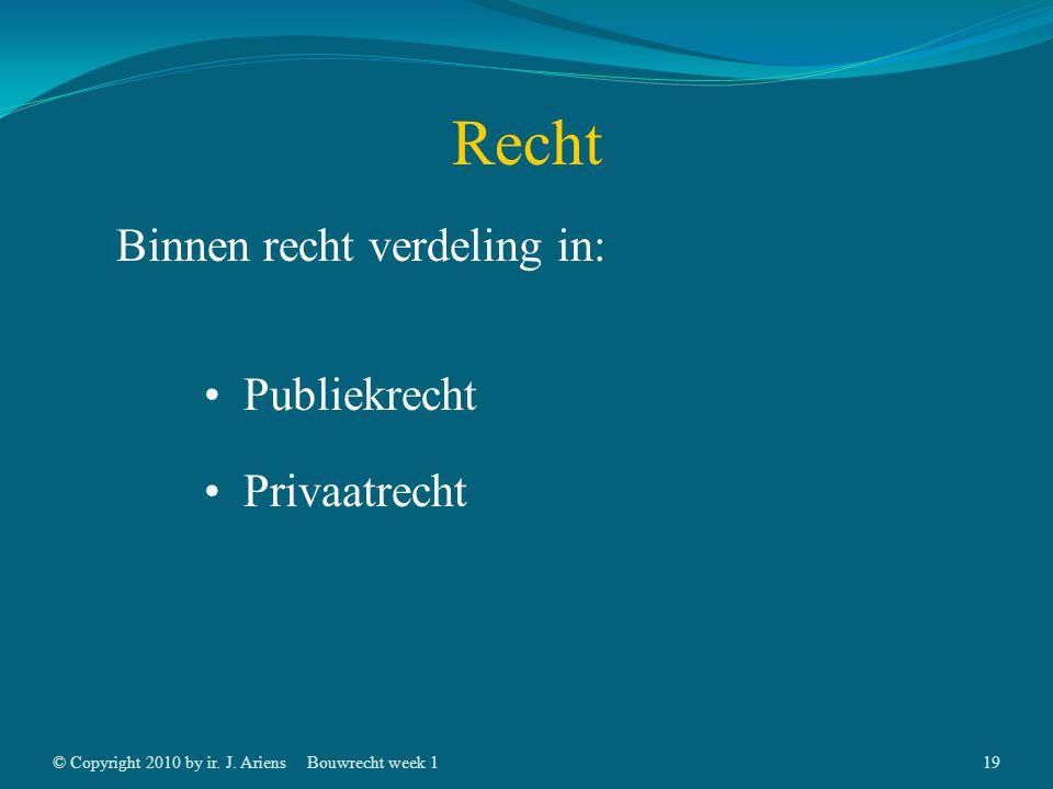 © Copyright 2010 by ir. J. AriensBouwrecht week 118 Recht Oorspronkelijk => Gewoonterecht Tegenwoordig => Gecodificeerd recht