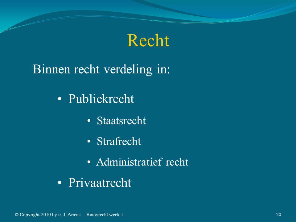 © Copyright 2010 by ir. J. AriensBouwrecht week 119 Recht Binnen recht verdeling in: Publiekrecht Privaatrecht