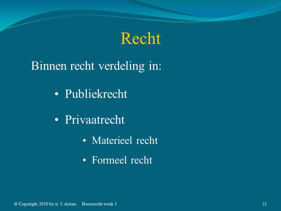 © Copyright 2010 by ir. J. AriensBouwrecht week 120 Recht Binnen recht verdeling in: Publiekrecht Staatsrecht Strafrecht Administratief recht Privaatr