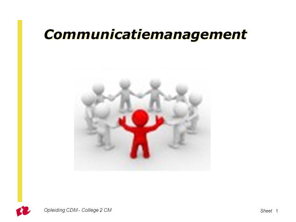 Communicatiemanagement Opleiding CDM - College 2 CM Sheet 1
