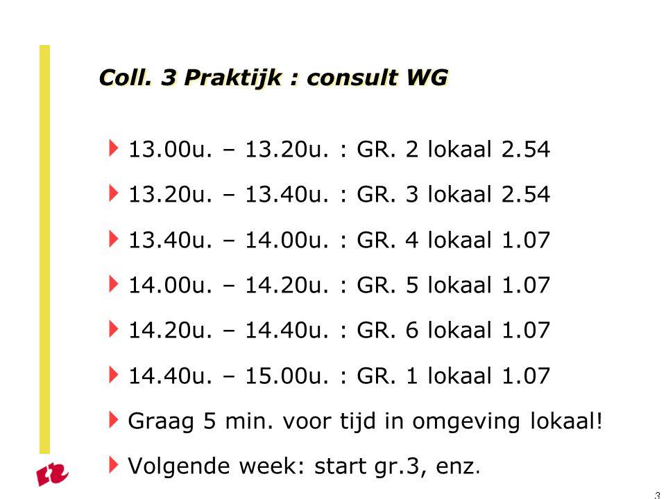 Coll. 3 Praktijk : consult WG  13.00u. – 13.20u. : GR. 2 lokaal 2.54  13.20u. – 13.40u. : GR. 3 lokaal 2.54  13.40u. – 14.00u. : GR. 4 lokaal 1.07