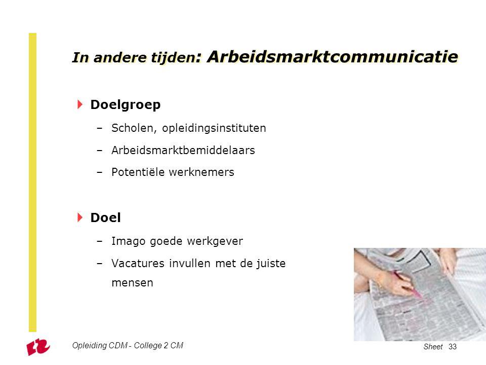 Opleiding CDM - College 2 CM Sheet 33 In andere tijden : Arbeidsmarktcommunicatie  Doelgroep –Scholen, opleidingsinstituten –Arbeidsmarktbemiddelaars