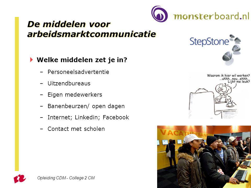 Opleiding CDM - College 2 CM Sheet 34 De middelen voor arbeidsmarktcommunicatie  Welke middelen zet je in? –Personeelsadvertentie –Uitzendbureaus –Ei