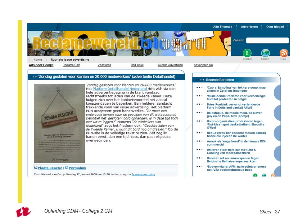 Opleiding CDM - College 2 CM Sheet 37
