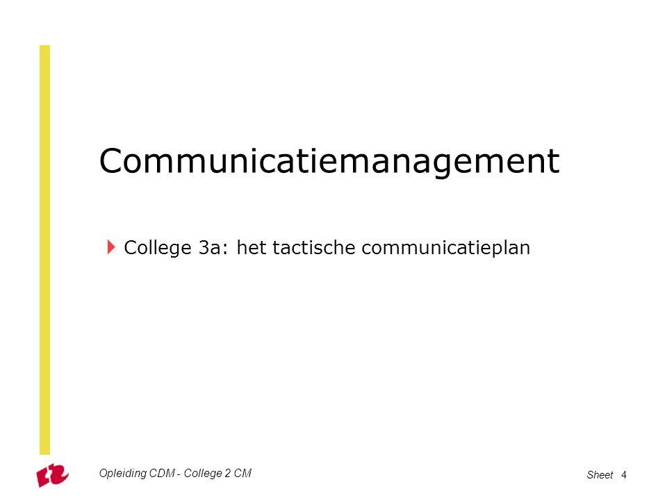 Opleiding CDM - College 2 CM Sheet 5 Vorige week …  … hebben we gesproken over het strategisch communicatieplan –SWOT analyse –Positionering –Imago, identiteit en reputatie