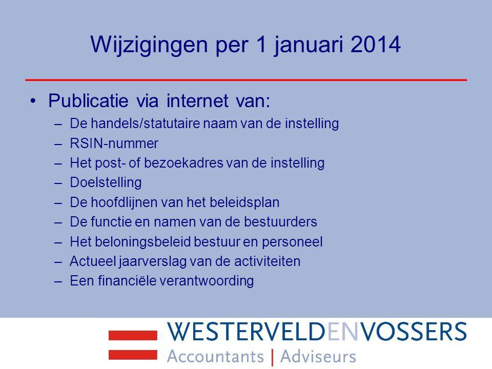 Wijzigingen per 1 januari 2014 Publicatie via internet van: –De handels/statutaire naam van de instelling –RSIN-nummer –Het post- of bezoekadres van d