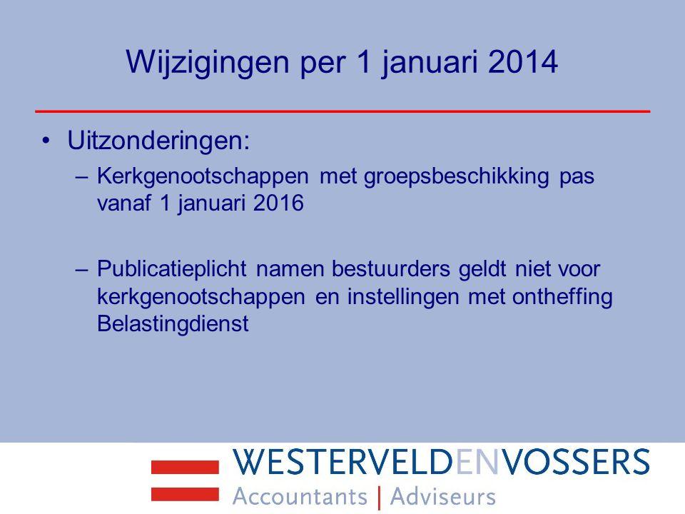 Wijzigingen per 1 januari 2014 Uitzonderingen: –Kerkgenootschappen met groepsbeschikking pas vanaf 1 januari 2016 –Publicatieplicht namen bestuurders